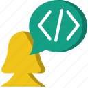 code, coding, development, discussion, programming icon