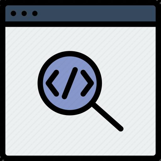 code, coding, development, programming, search icon