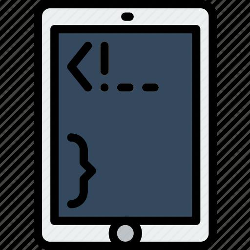 code, coding, development, mobile, programming icon
