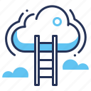 climb, cloud storage, ladder, sky icon