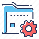 data management, folder, gear, settings icon