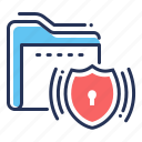 data protection, folder, shield, signaling icon