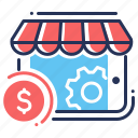 e-commerce, mobile app, money, optimization icon