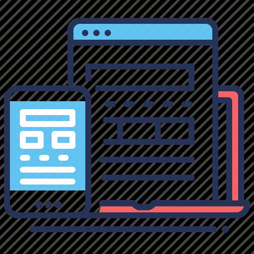 interface, laptop, mobile, responsive icon