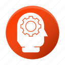 brainstorm, development, gear, head, startup icon