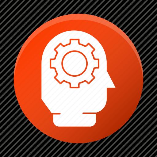brainstorm, development, gear, head, startup icon
