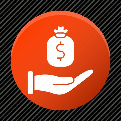 development, hand, investments, money, startup icon