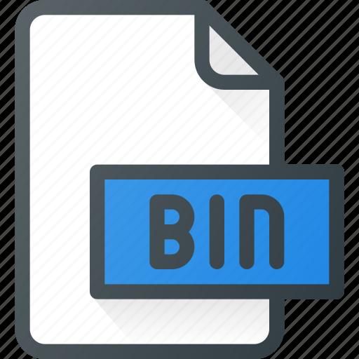 bin, development, extension, file, programing, type icon