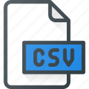 csv, development, extension, file, programing, type icon