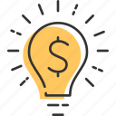 business, finance, idea, light, lightbulb, money, solution