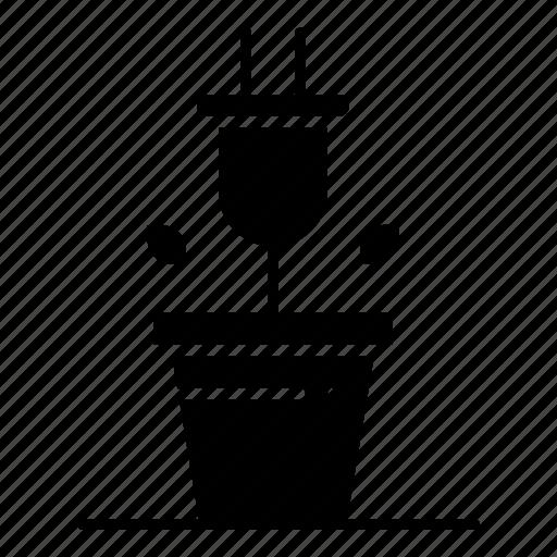 plant, plug, technology icon