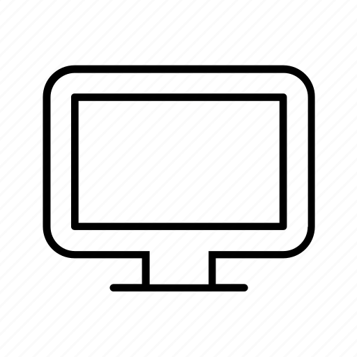 computer, desktop, display, monitor, outline, screen icon