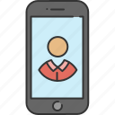 contact, device, phone, profile, smart, technology icon