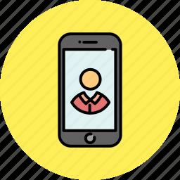 communication, contact, device, phone, profile, smart icon