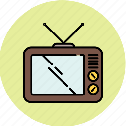 device, entertainment, movie, screen, television, vintage, watch icon
