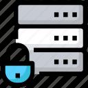 data, database, device, lock, protection, server icon