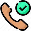 call, check, device, phone, speaker icon