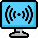 device, display, internet, monitor, screen, wifi signals icon