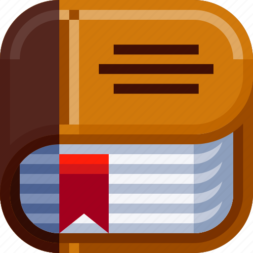 book, devices, ios, letter, library, science icon