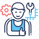 computer specialist, gear, male, settings icon