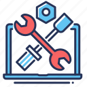laptop repairing, screwdriver, tools, wrench icon