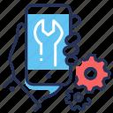 gears, phone, repair, settings icon
