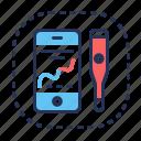 graph, smartphone, temperature, thermometer icon
