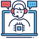 adviser, laptop, messaging, technical support icon