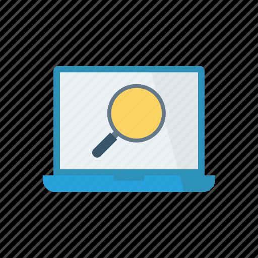 laptop, magnifier, screen, search icon