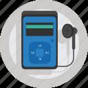 audio, device, earphone, earpiece, headphone, ipod, mp3, mp3 player, music, music player, player, sound icon