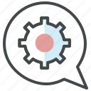 chat bubble, configuration, devops, operations, preferences, settings, support icon