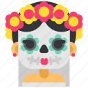 day of the dead, de, dia, makeup, mexico, muertos, sugar skull icon