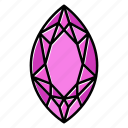 brilliant, diamond, gem, gemstone, jewel, marquis, video game items icon