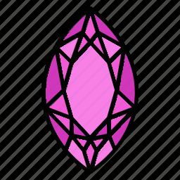 brilliant, diamond, gem, gemstone, jewel, marquis, video game items icon