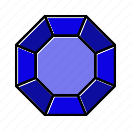 brilliant, diamond, gem, gemstone, jewel, octagonal, video game items icon