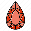 brilliant, diamond, gem, gemstone, jewel, pear, video game items icon