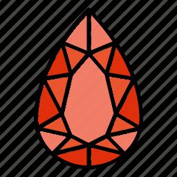 brilliant, diamond, gem, gemstone, jewel, pear, video game items icon