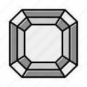 brilliant, diamond, gem, gemstone, jewel, radiant, video game items icon