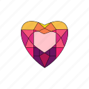 crystal, diamond, heart, jewel, ruby, stone icon