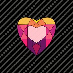 crystal, diamond, heart, jewel, ruby, stone icon