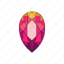 crystal, diamond, pear, radiant, ruby, stone icon