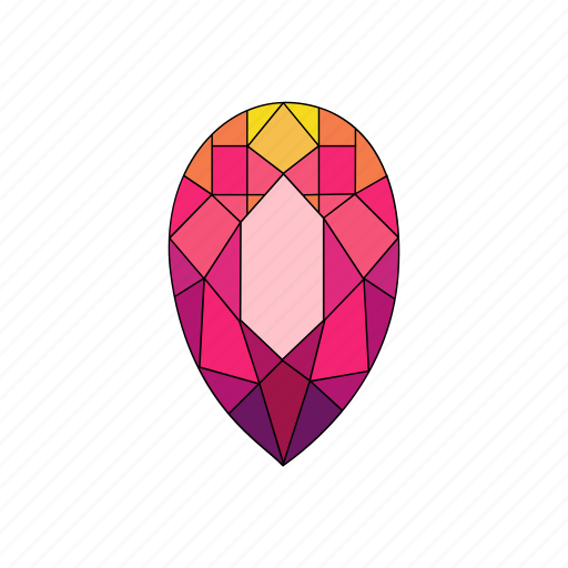 crystal, diamond, pear, radiant, ruby, stone icon
