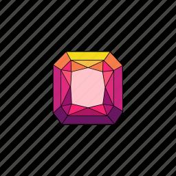 crystal, diamond, jewel, radiant, ruby, stone icon