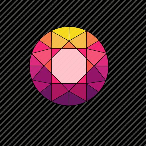 crystal, diamond, jewel, rhombus, round, ruby, stone icon