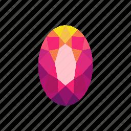 crystal, diamond, jewel, oval, radiant, ruby, stone icon