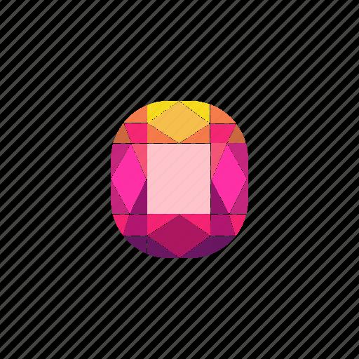 crystal, cushion, diamond, jewel, radiant, ruby, stone icon