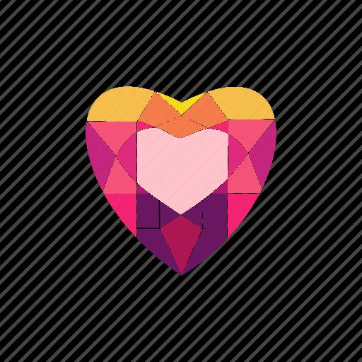 crystal, diamond, heart, jewel, radiant, ruby, stone icon