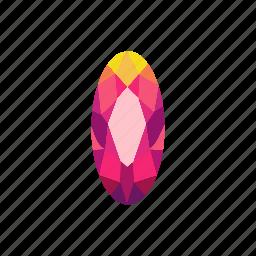 crystal, diamond, jewel, marquise, radiant, ruby, stone icon