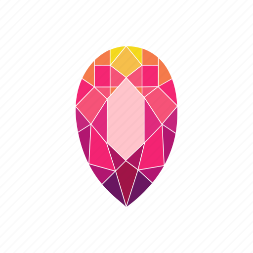 crystal, diamond, jewel, pear, radiant, ruby, stone icon