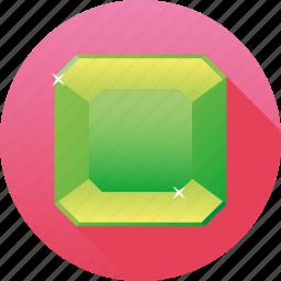 diamond, emerald, gemstone, green, jewelry, luxury, octagon icon
